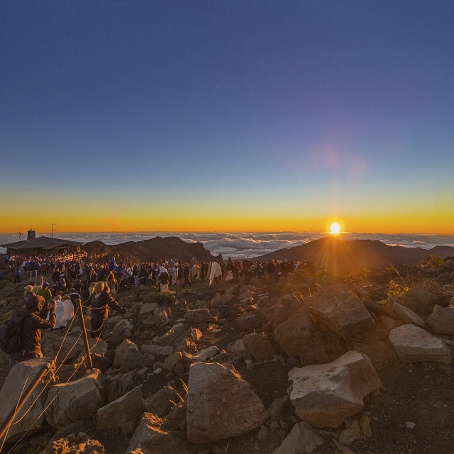 """Sunrise on the Haleakala crater"" stock image"