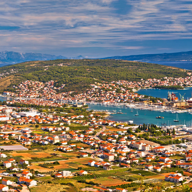 """Aerial panorama of Trogir and Ciovo island"" stock image"