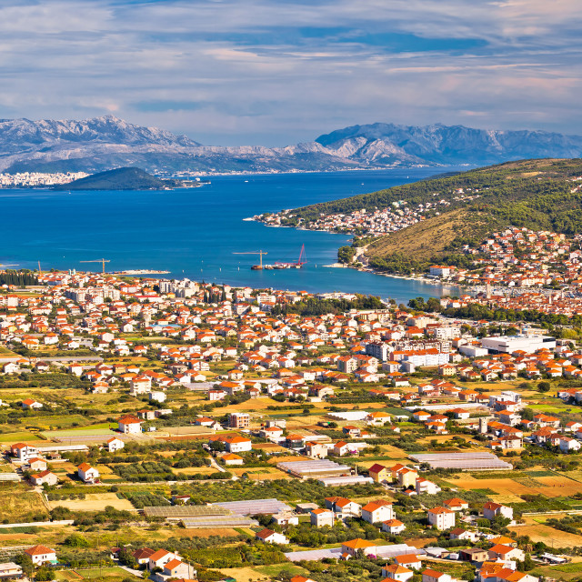 """Aerial panorama of Trogir and Kastela bay"" stock image"