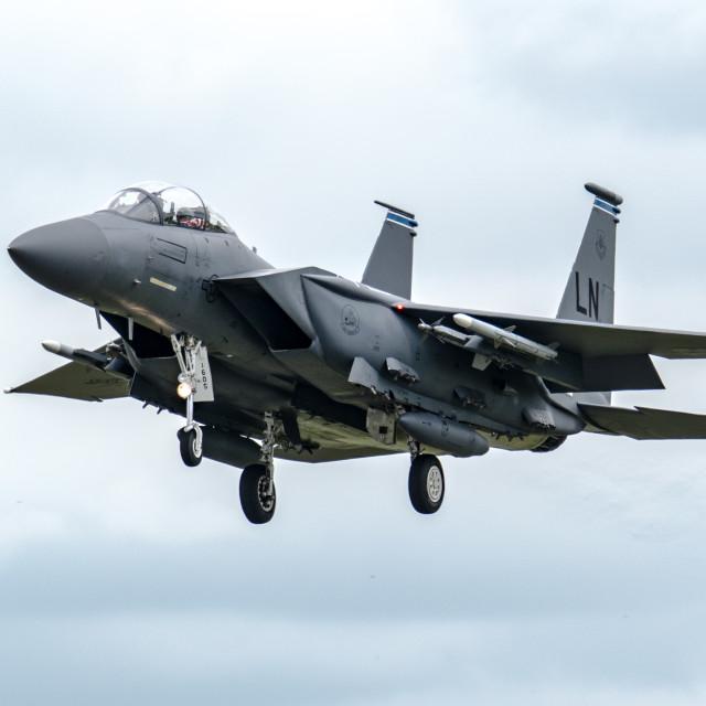 """F-15 Strike Eagle landing"" stock image"
