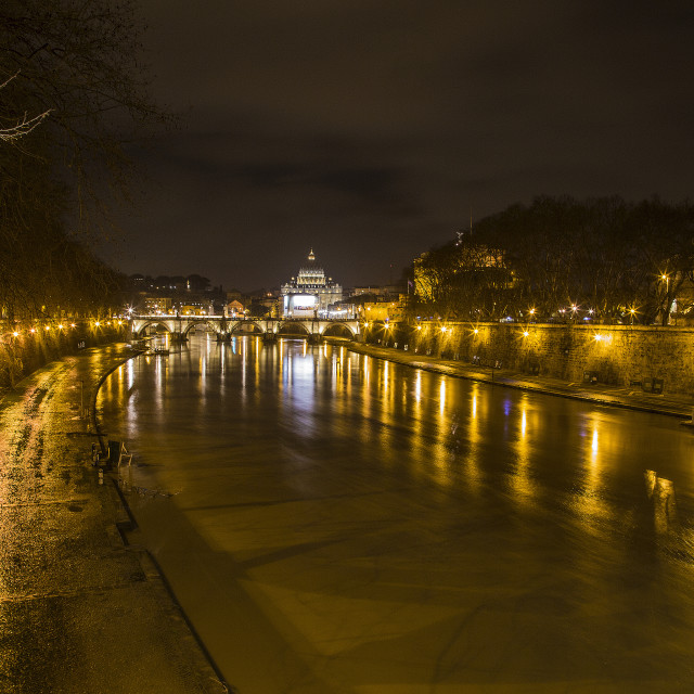 """""""Tevere night reflections"""" stock image"""