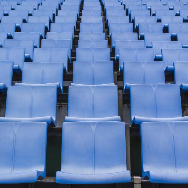 """blue color plastic stadium seating"" stock image"