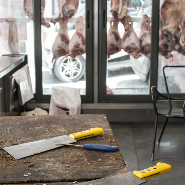 """""""Veal and lamb meat in a butcher shop"""" stock image"""