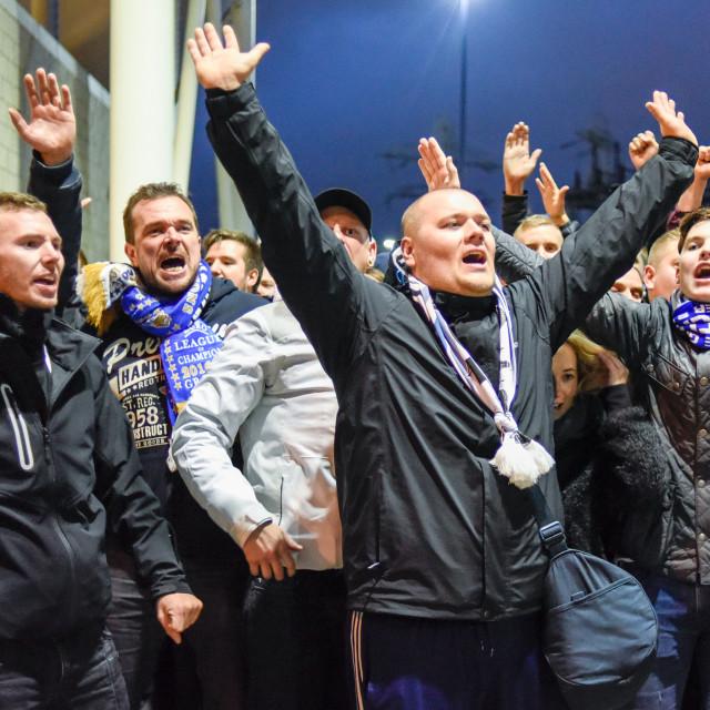 """FC Copenhagen Football Fans In Leicester,UK."" stock image"