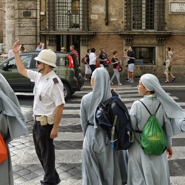 """Nuns on the road"" stock image"