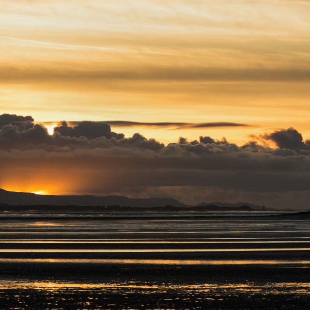 """Moody North Wales Coast Sunset"" stock image"