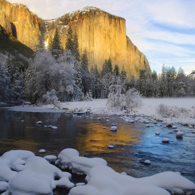 """sunset on yosemite in winter"" stock image"