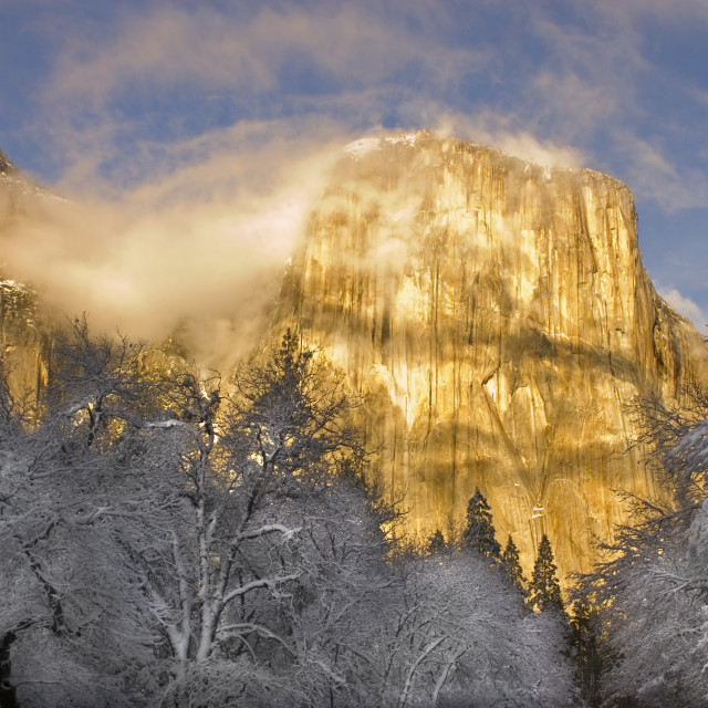 """Sunset on the granite peaks in Yosemite valley"" stock image"