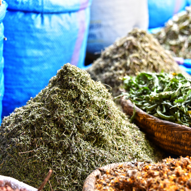 """""""Variety of spices on the arab street market stall"""" stock image"""