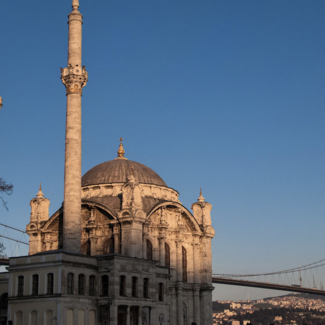 """Exterior of Ortakoy Mosque and Bosphorus bridge at dusk, Ortakoy, Istanbul, Turkey, Europe"" stock image"