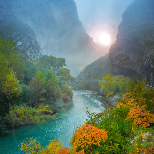 """Sunrise in canyon"" stock image"