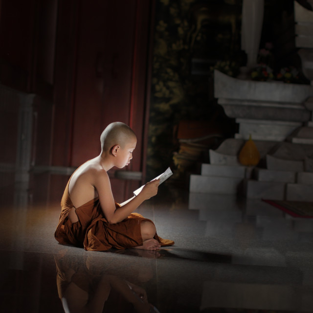 """Novice monk learning in Temple, Thailand."" stock image"