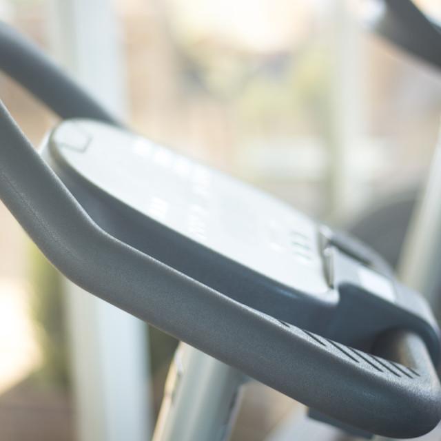 """Gym bike exercise cycle machine"" stock image"
