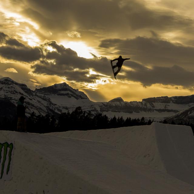 """Sunset snowboard"" stock image"