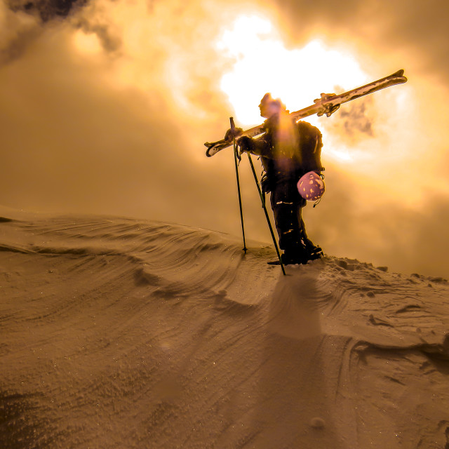 """Skier in the sun"" stock image"