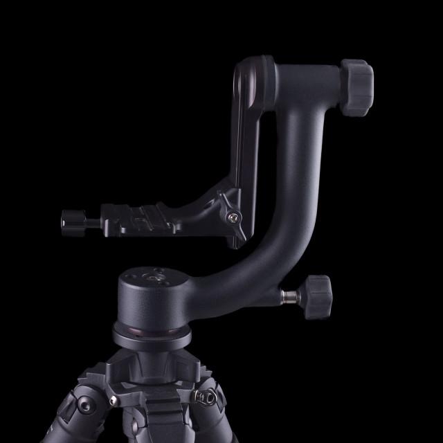 """""""gimbal style tripod head on tripod in closeup"""" stock image"""