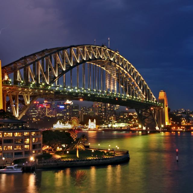 """Sydney Harbour Bridge by Night"" stock image"