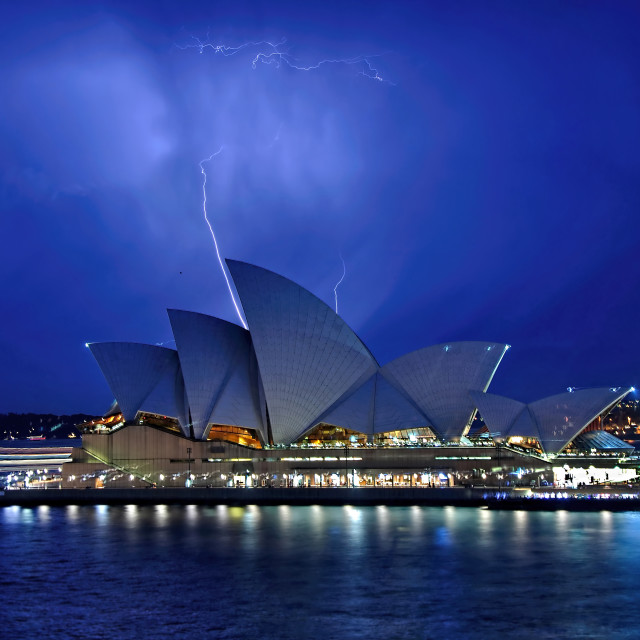 """Lightning Above The Opera House"" stock image"