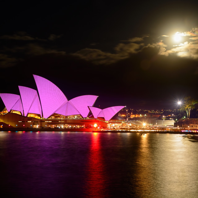 """Opera House - Pretty In Pink - Vivid Sydney"" stock image"