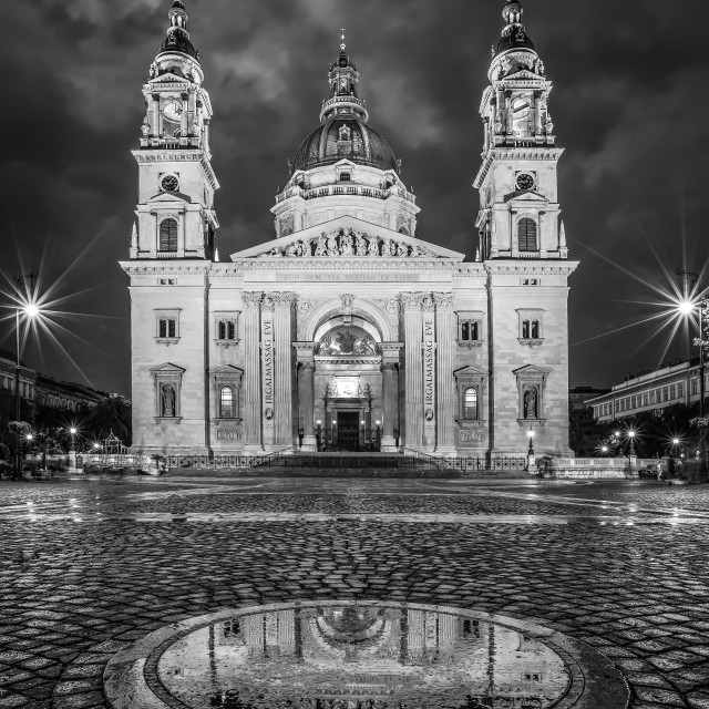 """BUDAPEST, HUNGARY, Night shot of St. Stephen's Basilica, a Roman Catholic basilica in Budapest, Hungary."" stock image"
