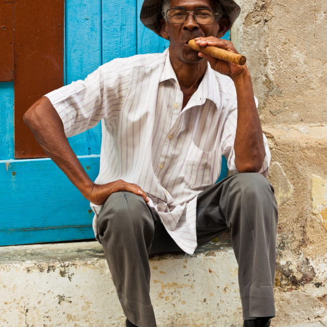 """Cigar Man in Havana, Cuba"" stock image"