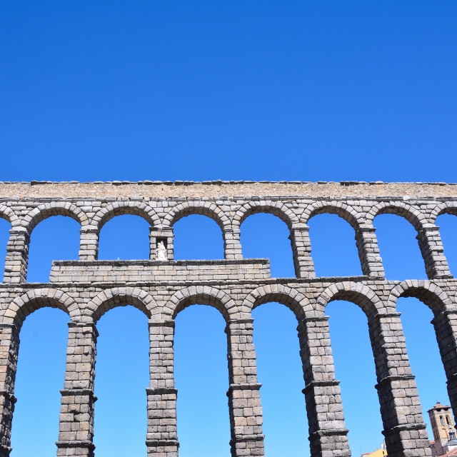 """The famous ancient aqueduct in Segovia."" stock image"