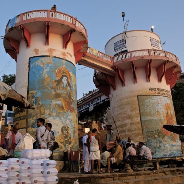 """Early morning in Varanasi"" stock image"