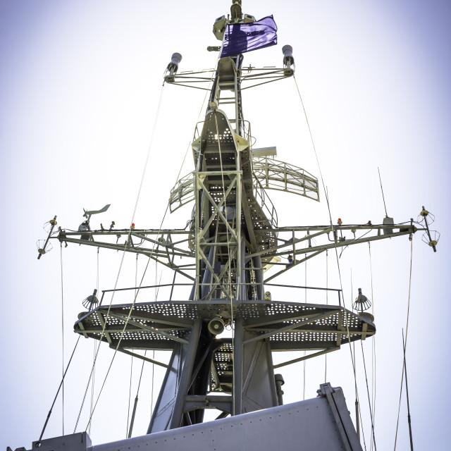 """Mast and radar on battleship"" stock image"