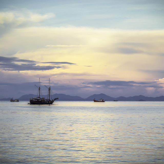 """""""Seascape with boats"""" stock image"""