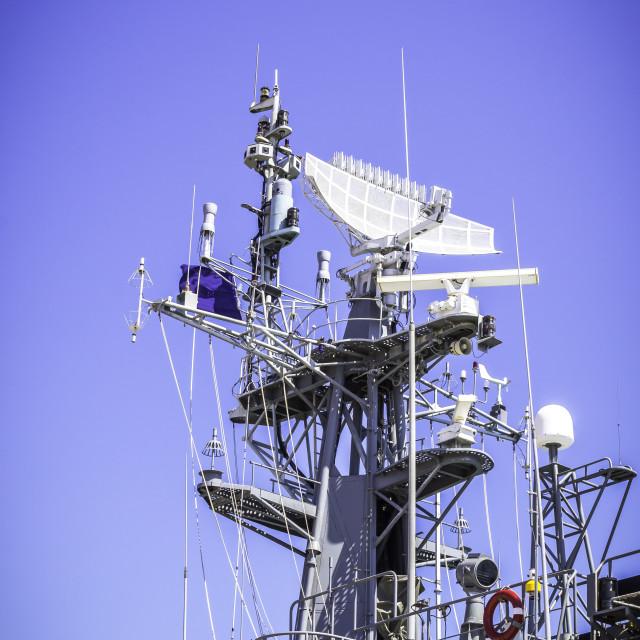 """Radar on battleship with blue sky"" stock image"