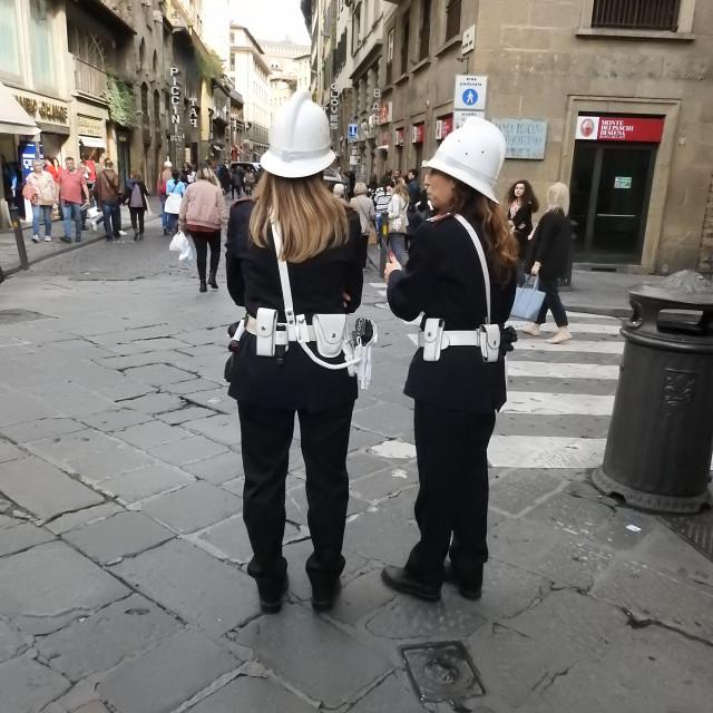 """Policewomen, Florence, Italy."" stock image"