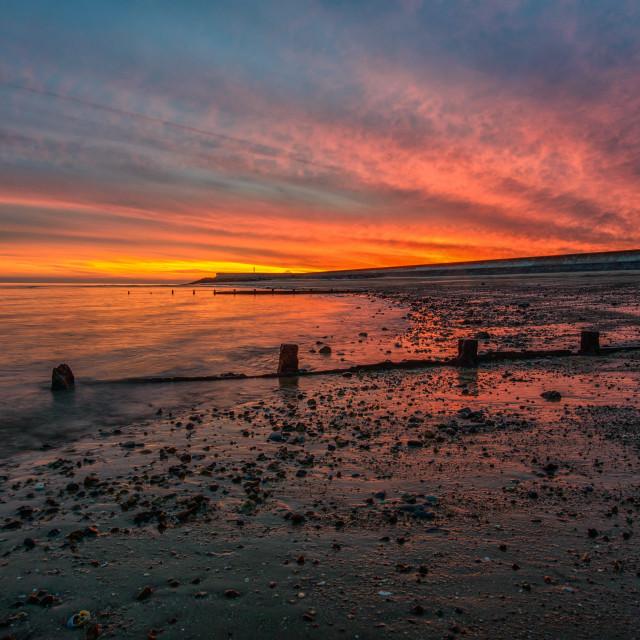 """Fire Sky Over Frinton On Sea"" stock image"