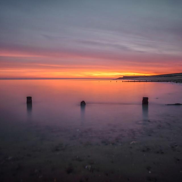 """Calm Sunset Over Frinton On Sea"" stock image"