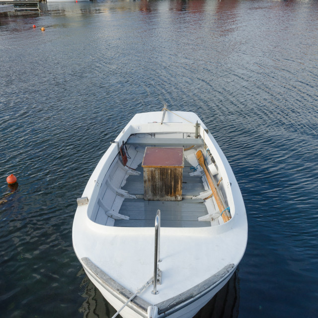 """one little boat in the harbour"" stock image"