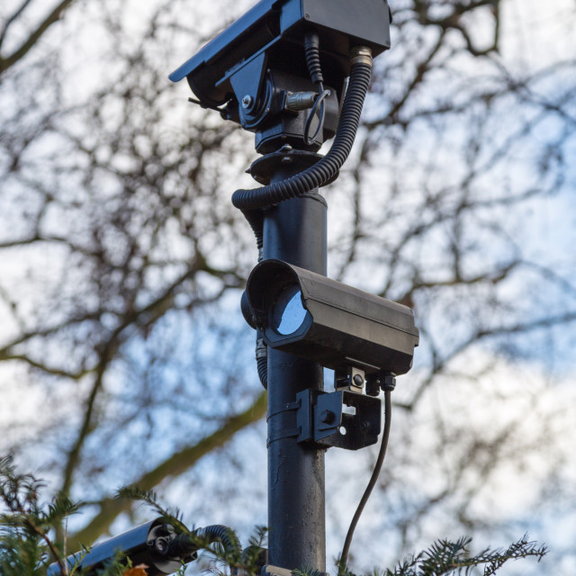 """""""Camera surveillance for security on a plot of land"""" stock image"""