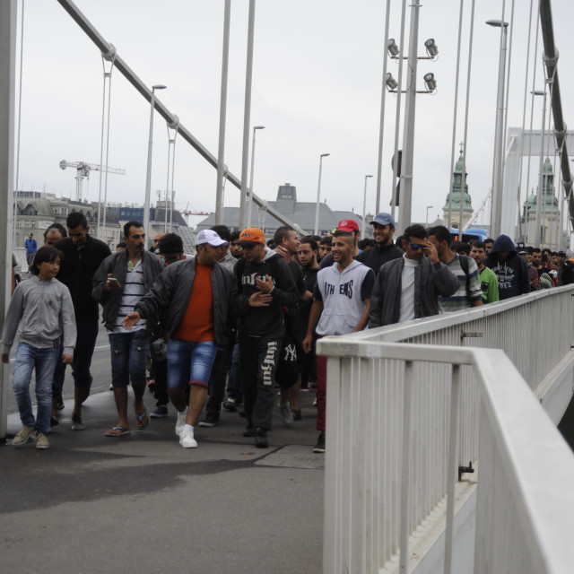 """Refugees make their way to Austria on foot"" stock image"