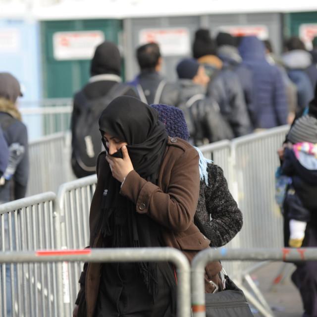 """Refugees on the Austrian border crossing Spielfeld"" stock image"