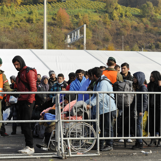 """Refugees on the Austrian border crossing Spielfeld"" stock image"