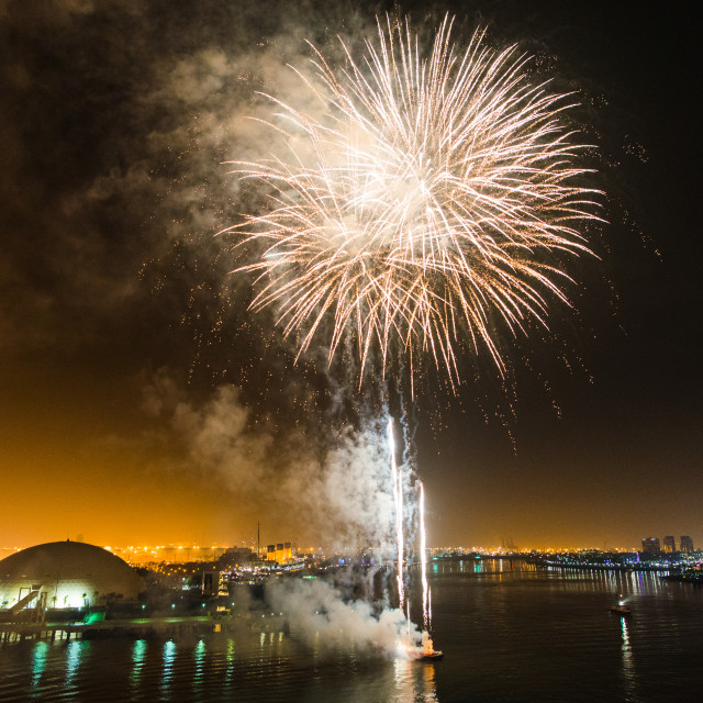 """LA, Long Beach, Queen Mary Fireworks"" stock image"