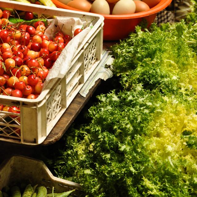 """""""Fresh delights, Puerto Montt"""" stock image"""