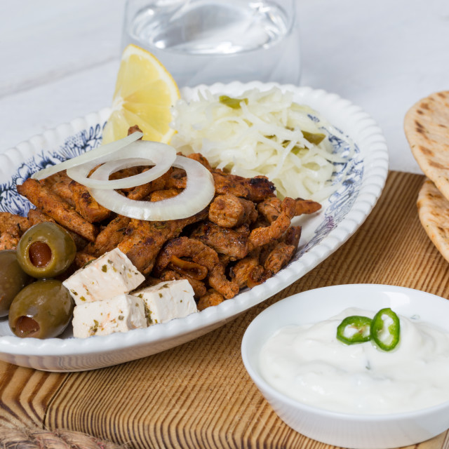 """""""Gyros with Tzatziki Coleslaw olives and feta cheese"""" stock image"""