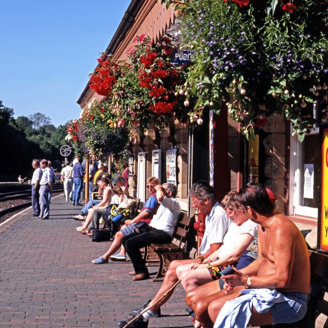 """""""Tourists at Highley Railway station, Shropshire, UK"""" stock image"""