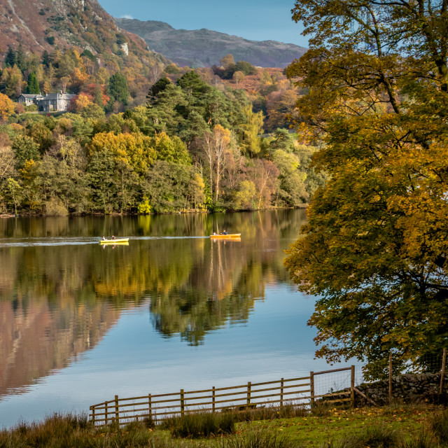 """Boating on Grasmere"" stock image"