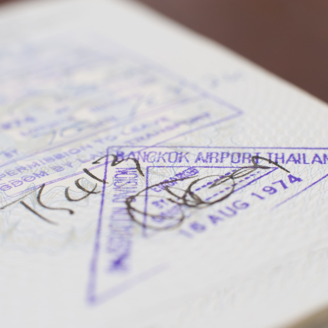 """Bangkok airport thailand passport visa"" stock image"