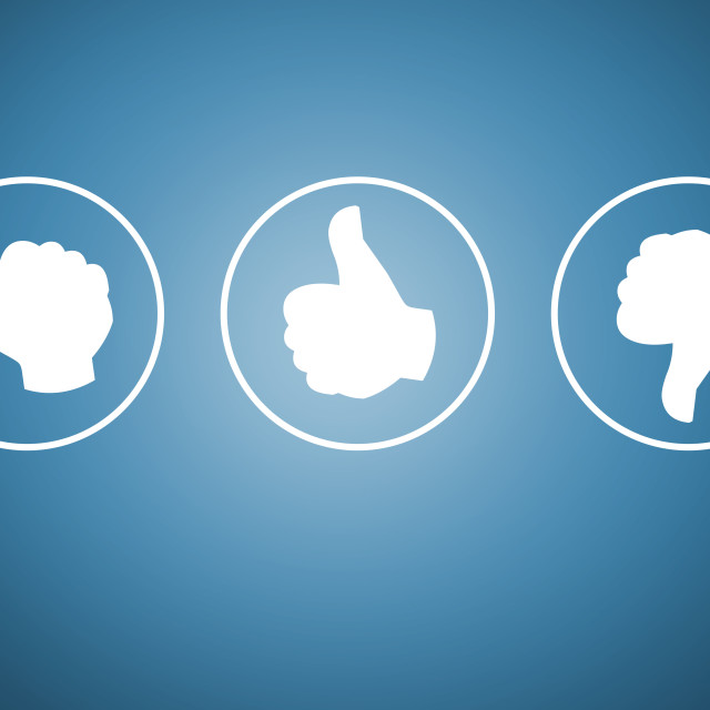 """Review with your thumb icons concept"" stock image"