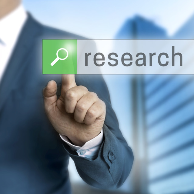 """""""research browser is operated by businessman"""" stock image"""
