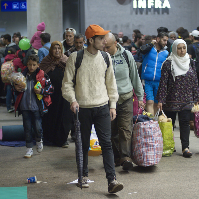 """""""Refugees at the main station in Salzburg"""" stock image"""