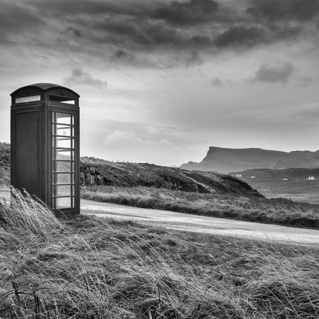 """Kilmaluag telephone box BW"" stock image"