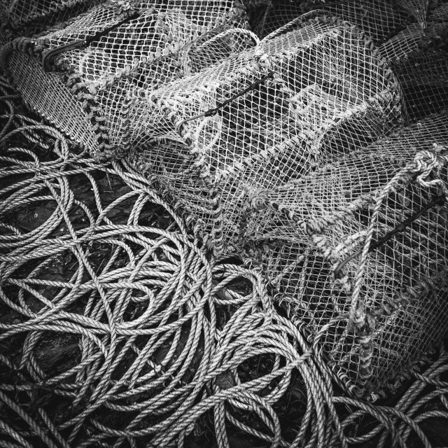 """""""Lobster cages BW"""" stock image"""