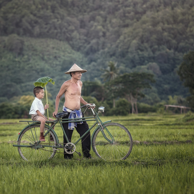 """Father and sun with bicycle in rural Thailand."" stock image"